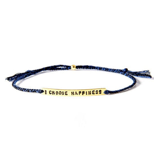 I choose happiness petrol blue gold bracelet from santai.no