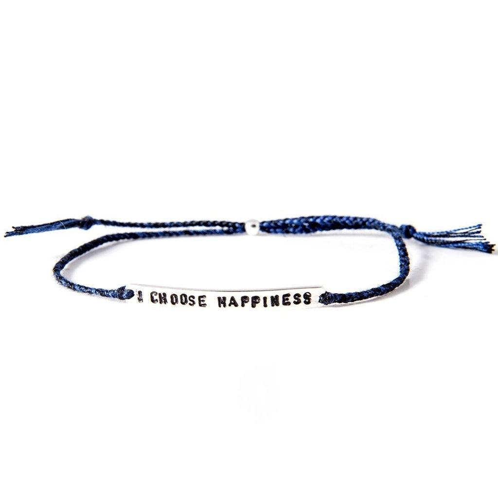 I choose happiness petrol blue silver bracelet from santai.no