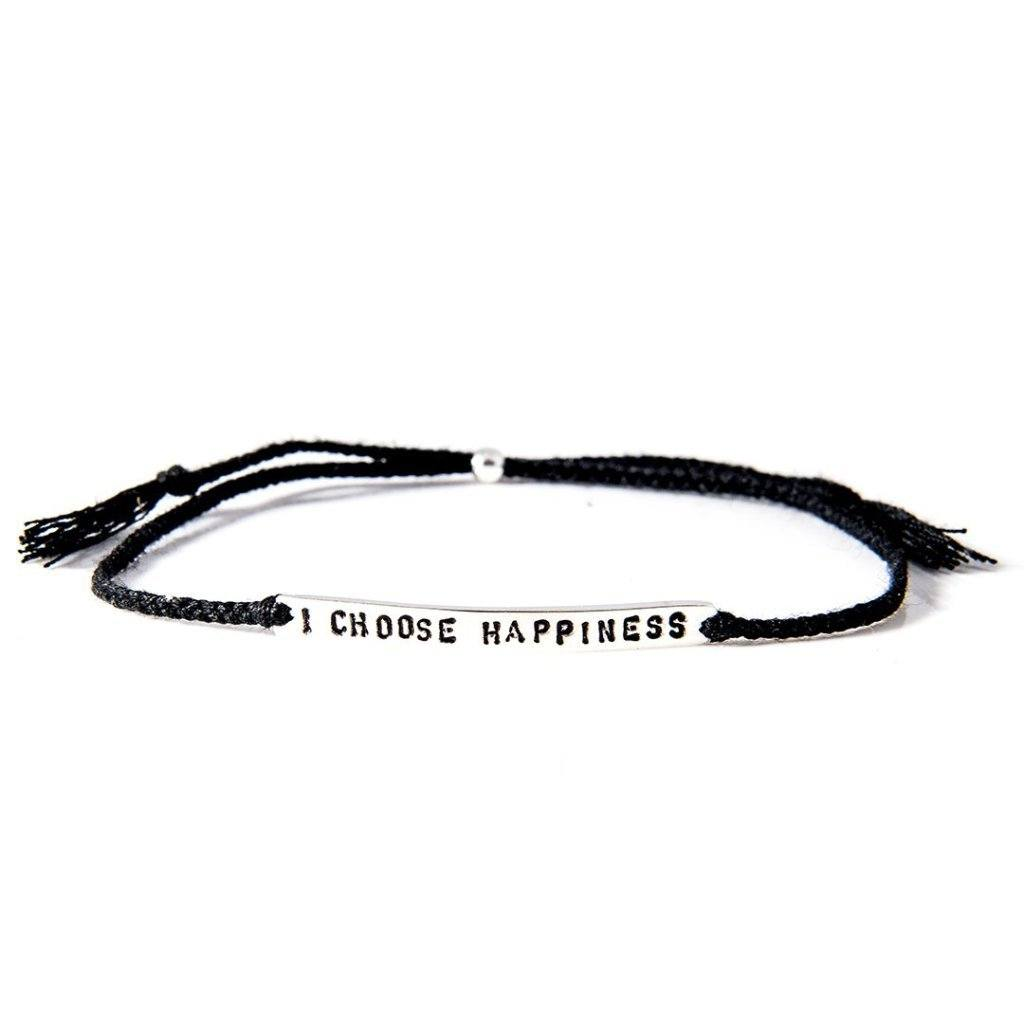 I choose happiness black silver bracelet from santai.no