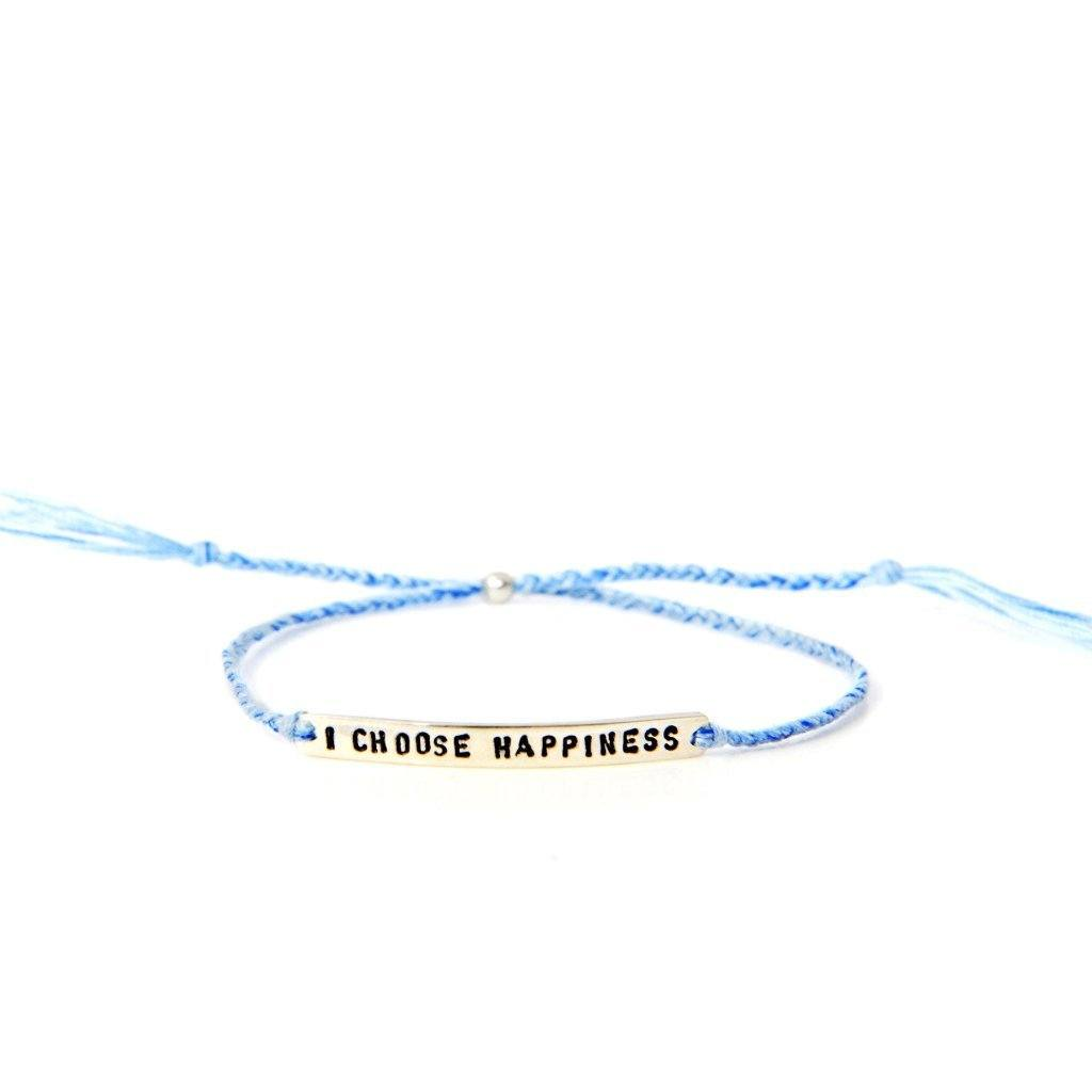 I choose happiness light blue silver bracelet from santai.no