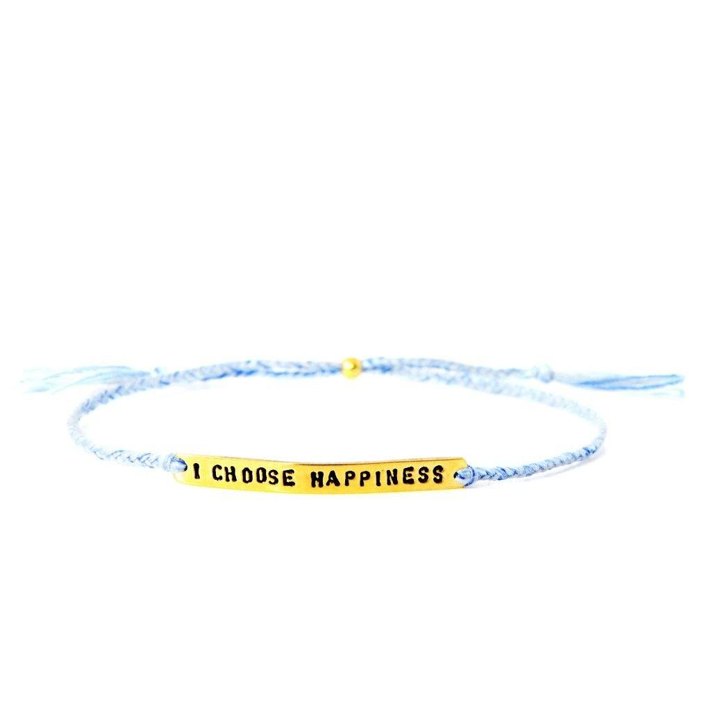 I choose happiness light blue gold bracelet from santai.no
