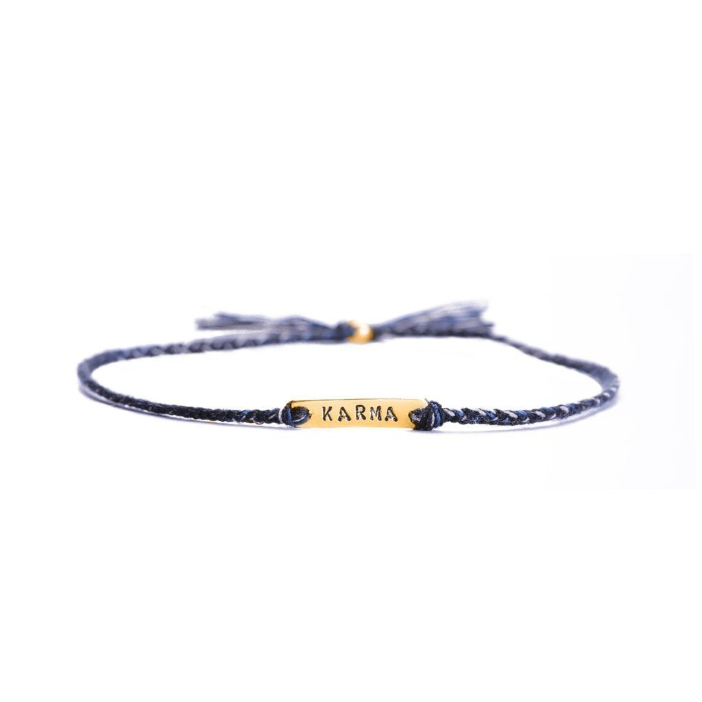 Karma black mix gold bracelet handmade from Santai.no