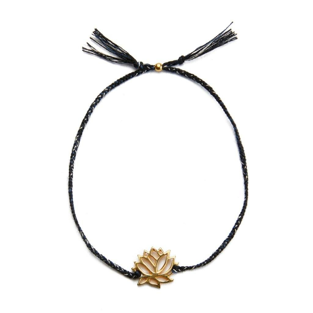 Lotus bracelet black mix silver and gold handmade Santai.no