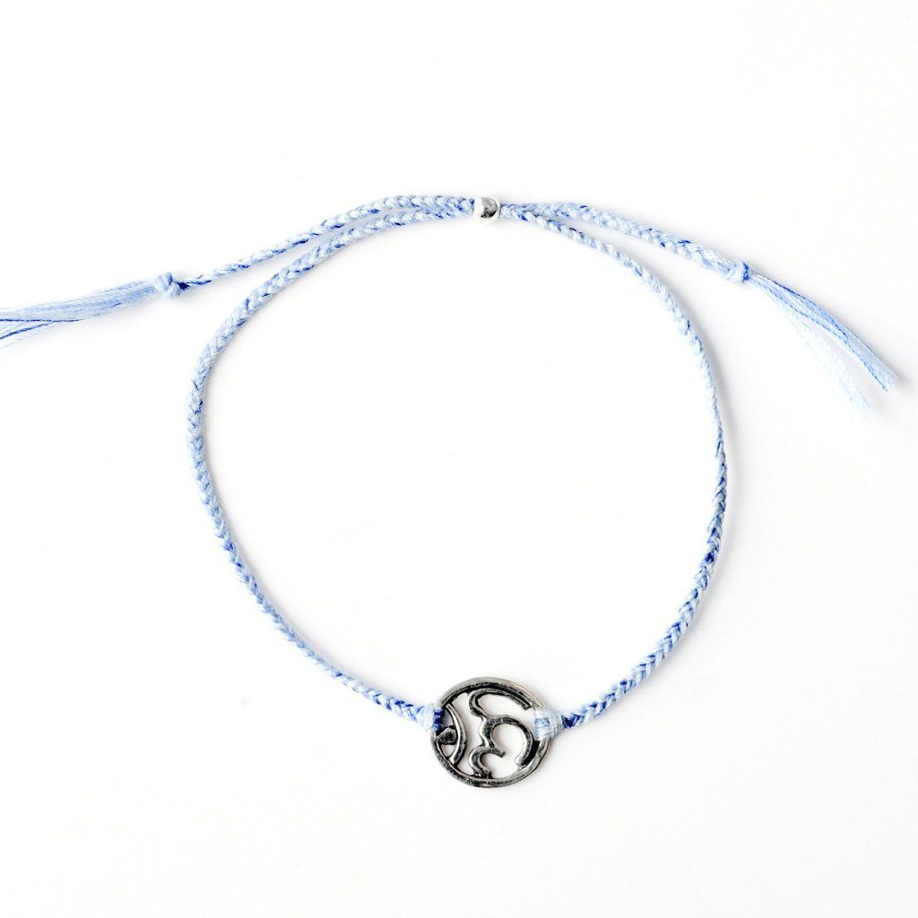 Ohm bracelet light blue silver and gold handmade santai.no