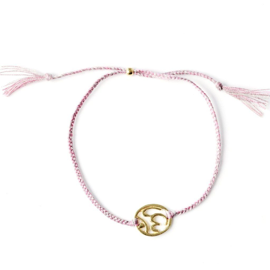 Ohm bracelet dusty pink silver and gold handmade santai.no
