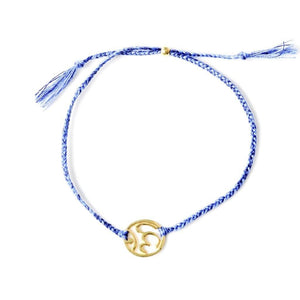 Ohm bracelet blue silver and gold handmade santai.no