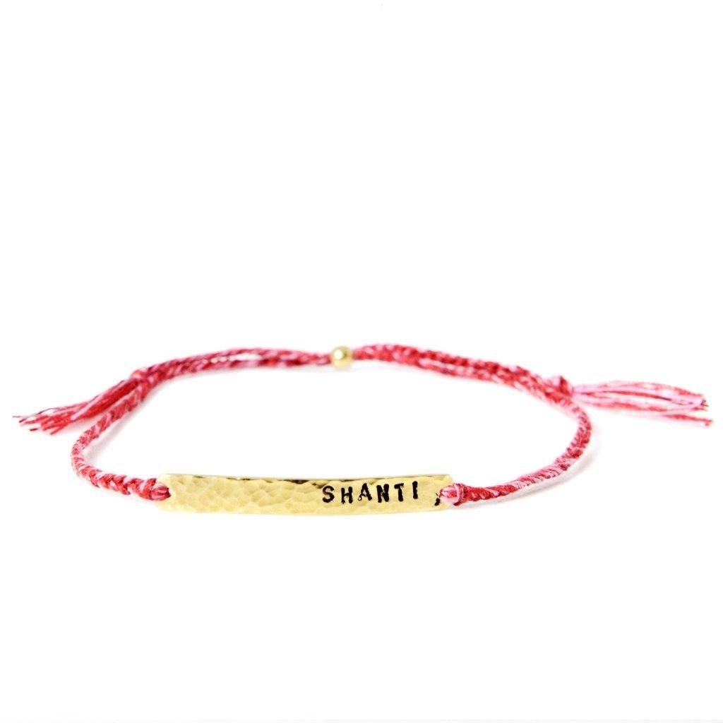 Shanti bracelet red mix silver and gold handmade from santai.no