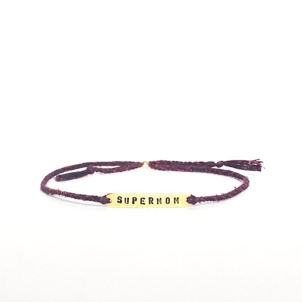 Supermom red mix silver and gold bracelet handmade Santai.no