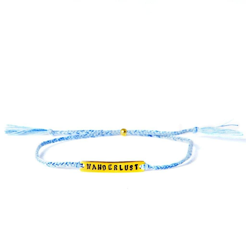 wanderlust lightblue gold handmade bracelet from santai.no