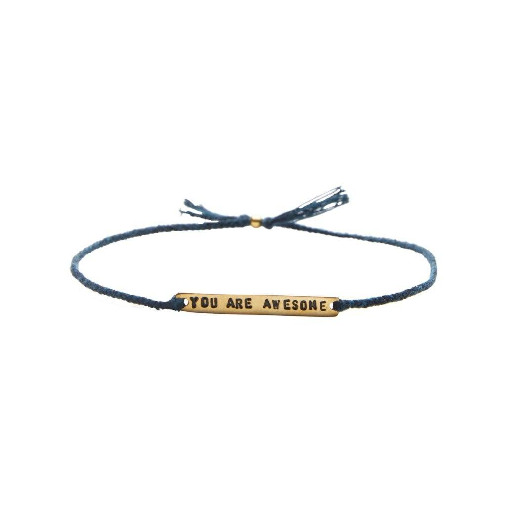 You are awesome dark blue gold handmade bracelet from Santai.no