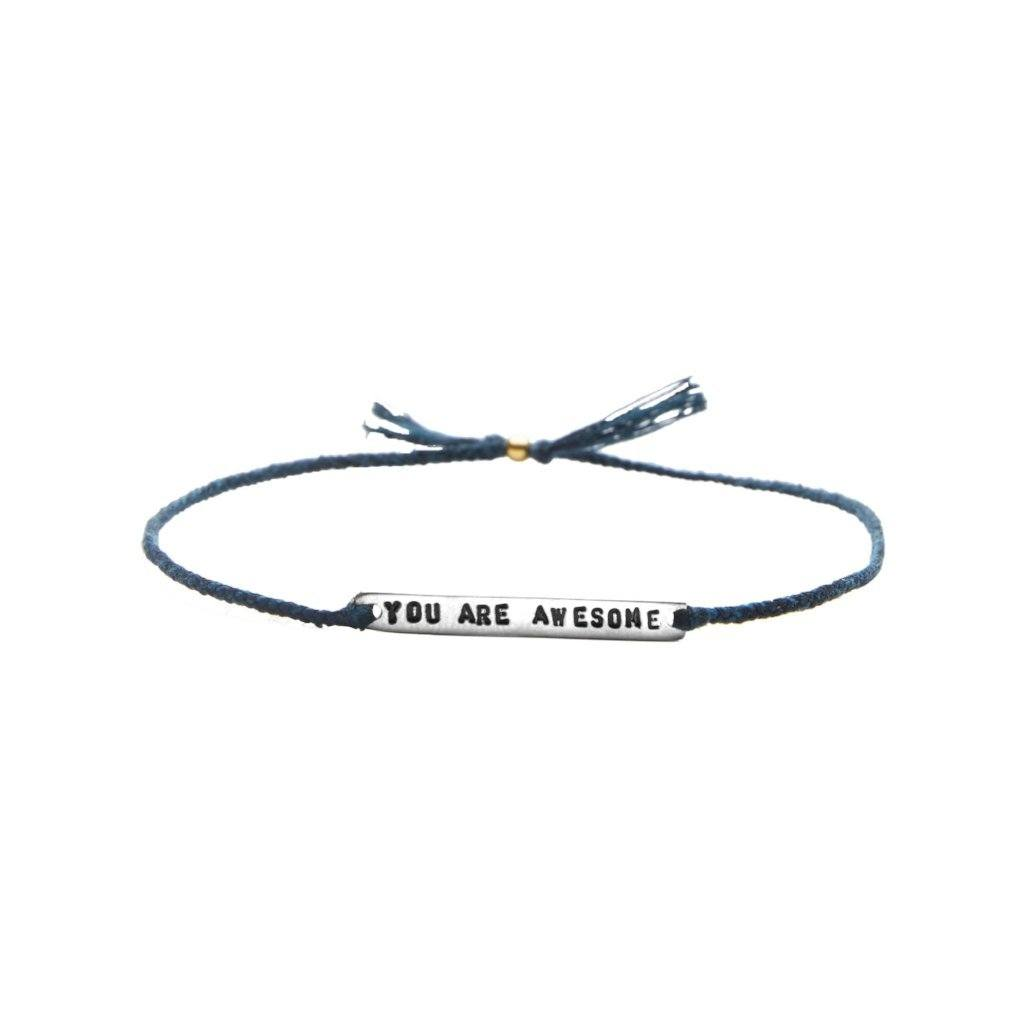 You are awesome dark blue silver handmade bracelet from Santai.no