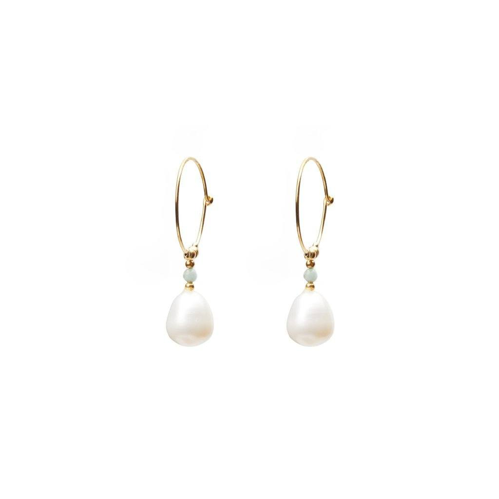Freshwater pearl & ring earring silver and gold handmade Santai.no