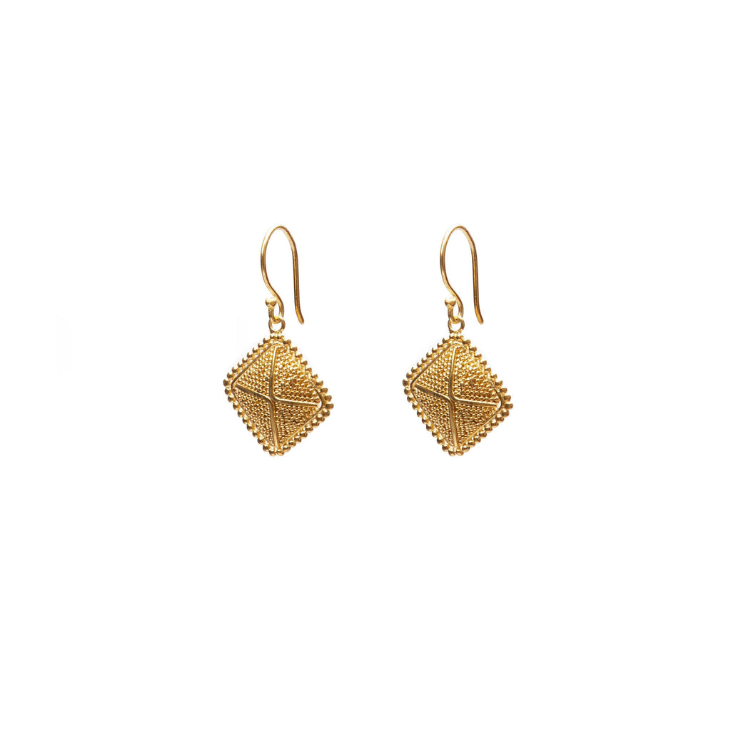 Square India earring gold-plated handmade from Bali
