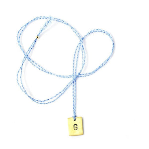 Letter necklace - light blue - cotton thread - brass- santai.no