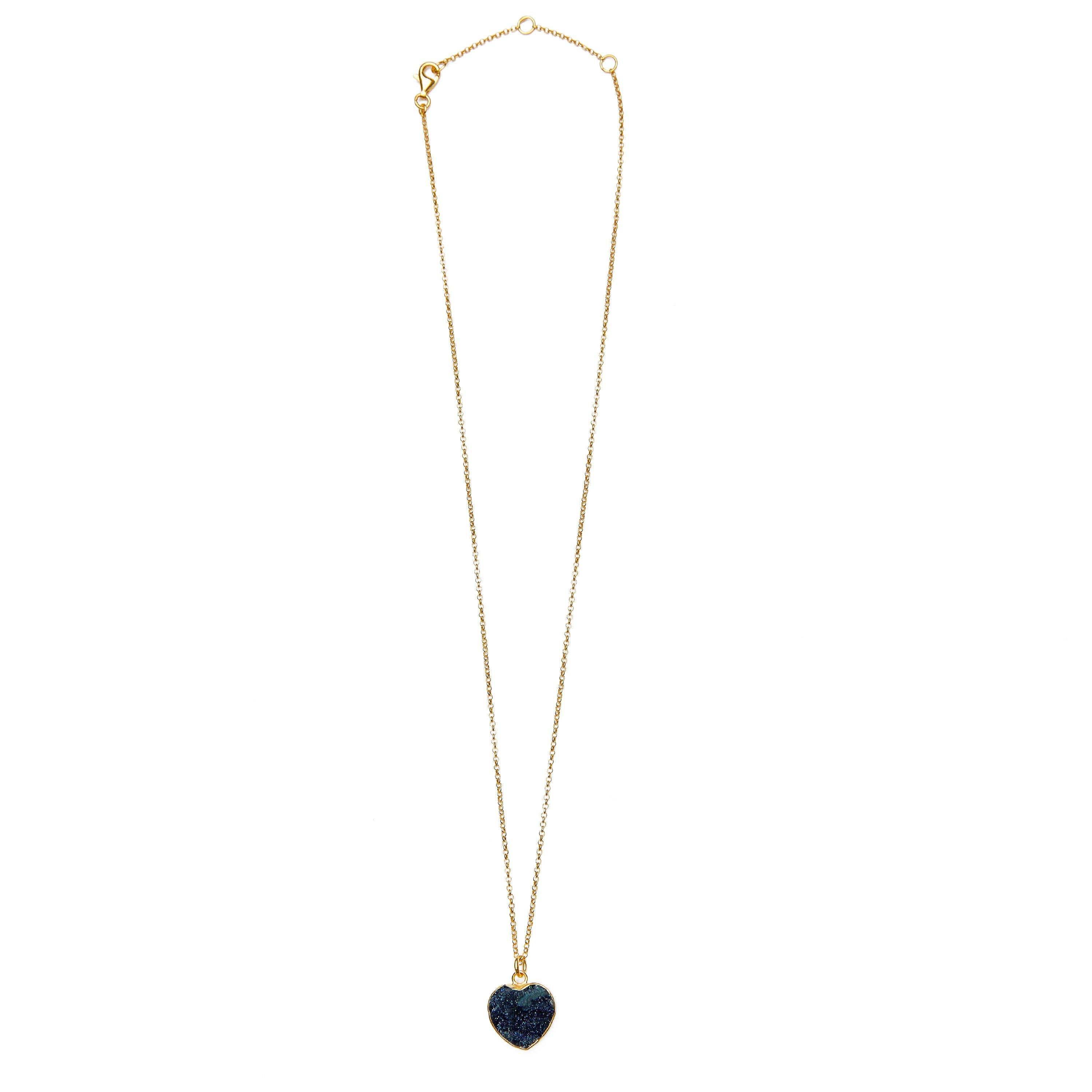 Druzy heart necklace silver gold plated from Santai.no