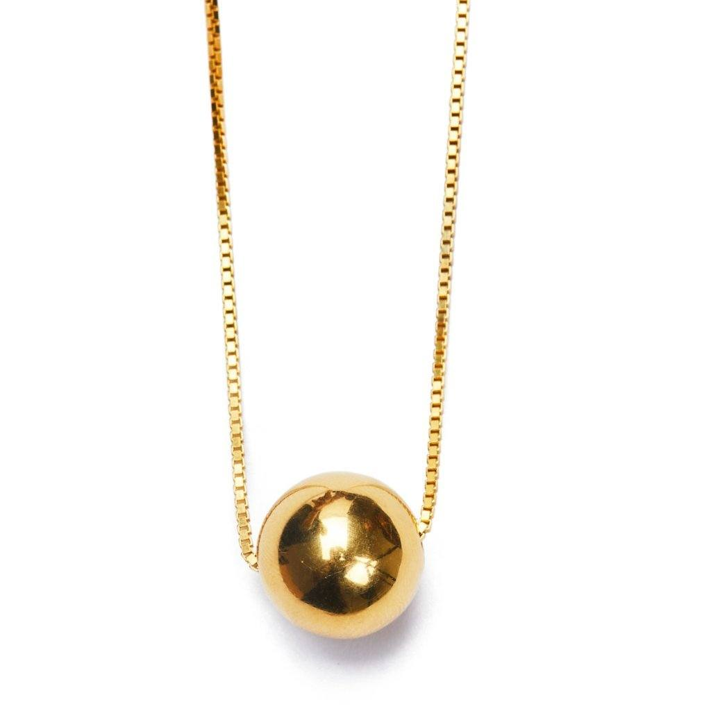 Golden ball necklace large gold plated handmade from Santai.no