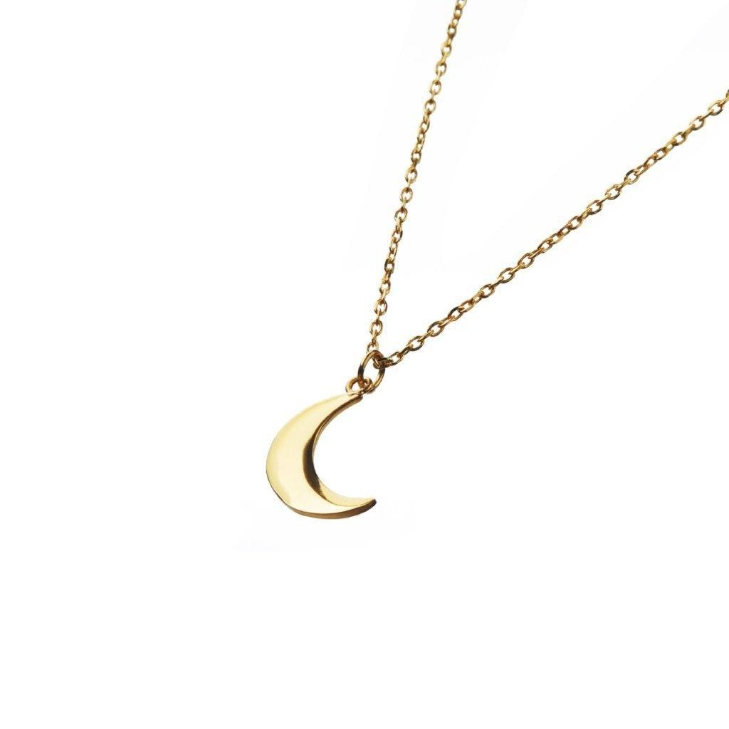Half moon necklace medium gold from Santai.no