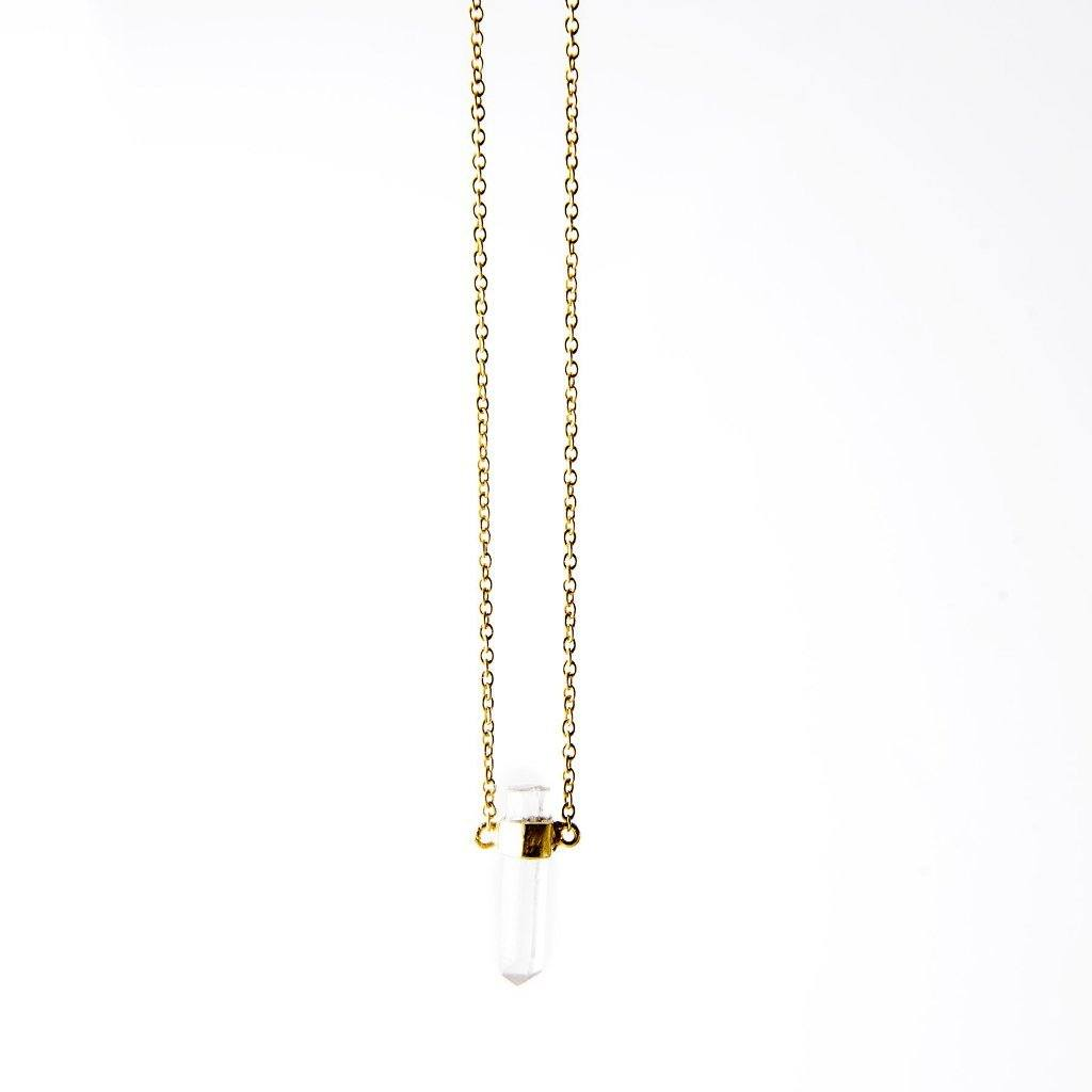 Heksagon crystal chain necklace gold handmade from Santai.no