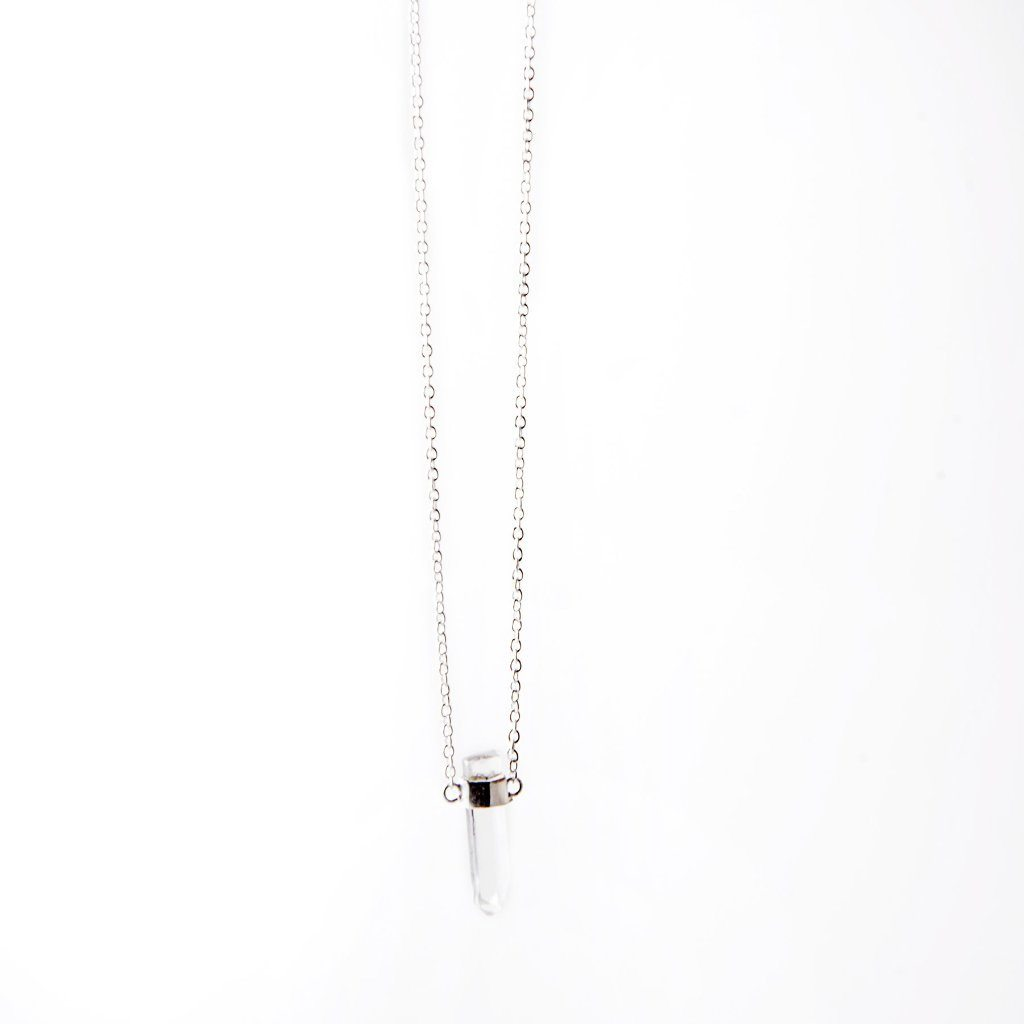 Heksagon crystal chain necklace silver handmade from Santai.no