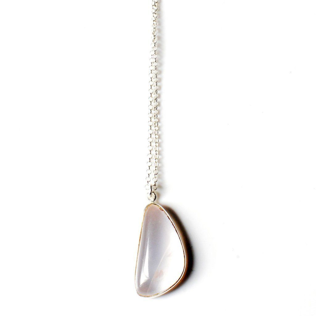 Rose quartz necklace silver and gold from Santai.no