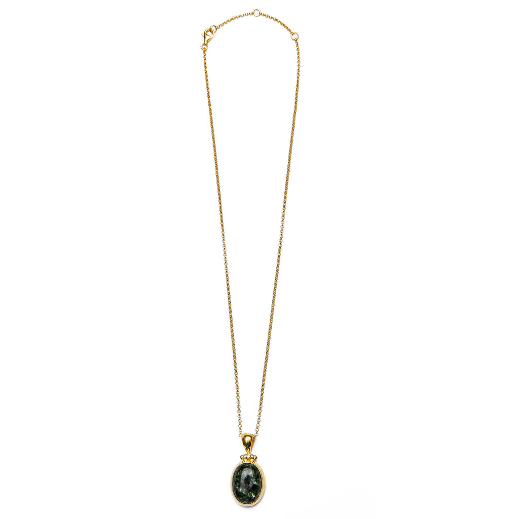 Seraphinite necklace gold handmade from Santai.no