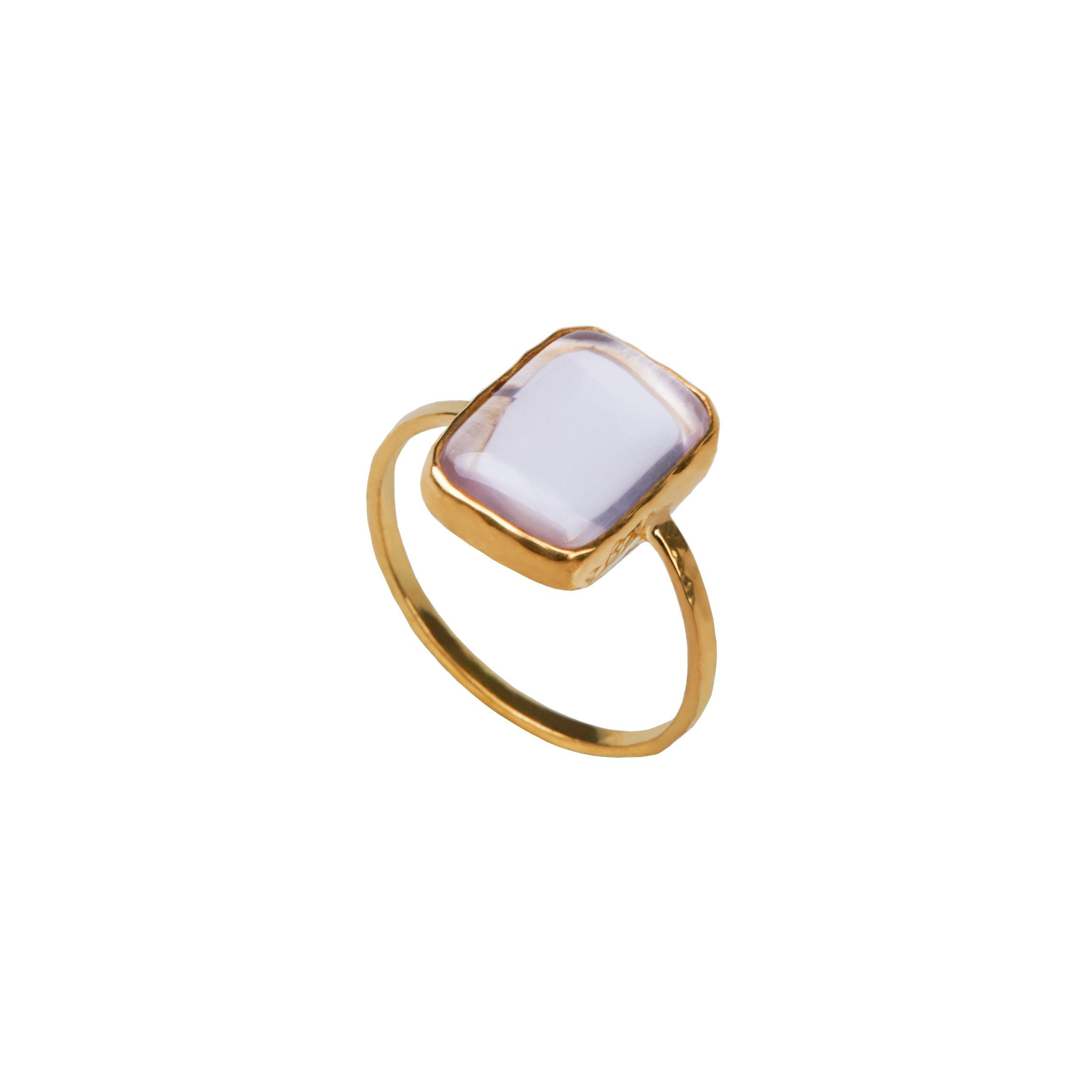 Rose quartz ring silver and gold plated from Santai.no
