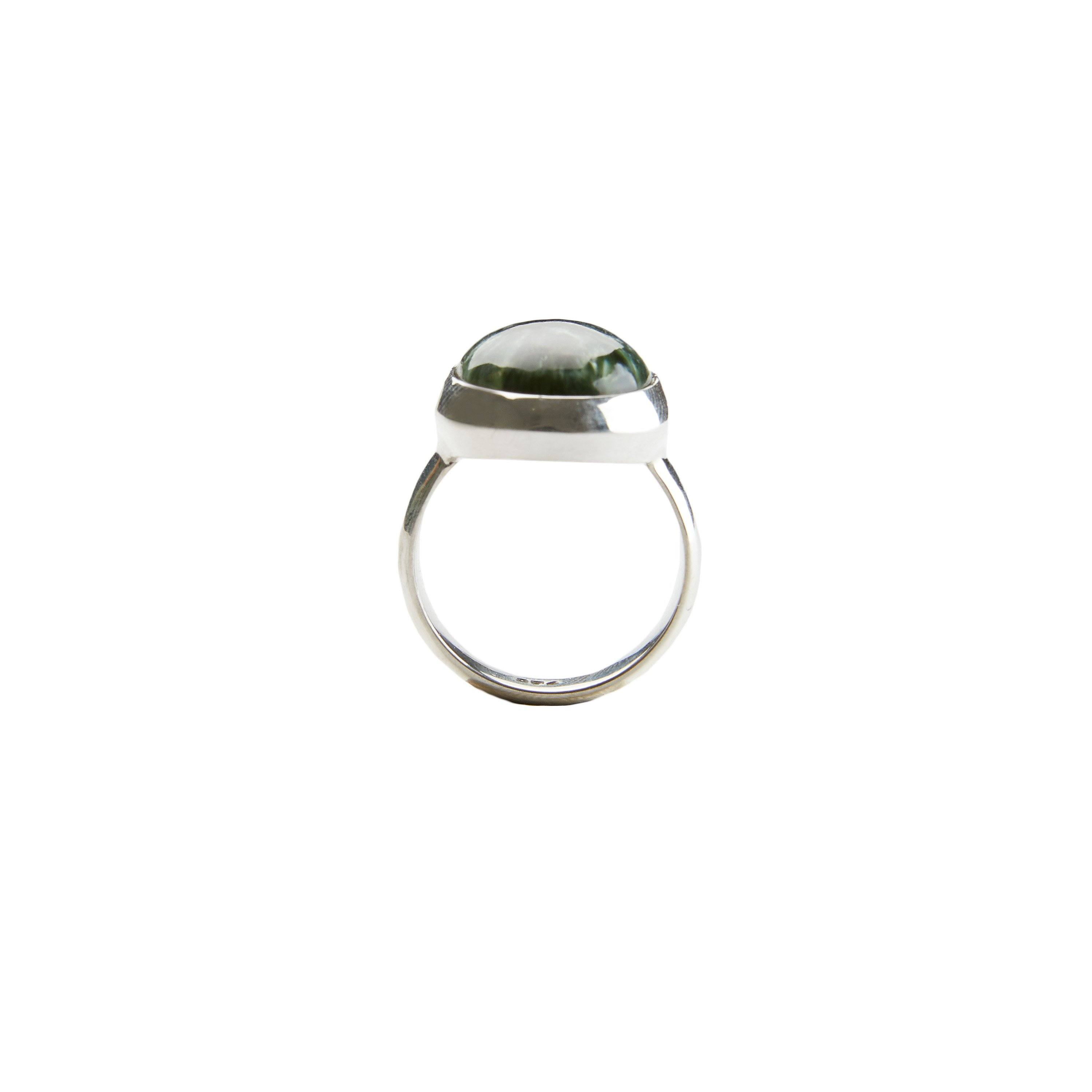 Seraphinite ring silver and gold handmade from Santai.no