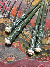 Load image into Gallery viewer, Magical Wooden Hair Sticks~Ready to Ship Pair - Green