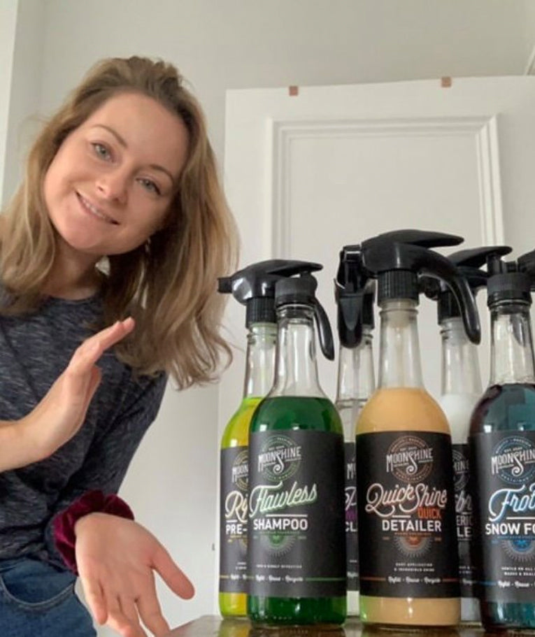 Great to see our winner Jo with her Moonshine car detailing kit!