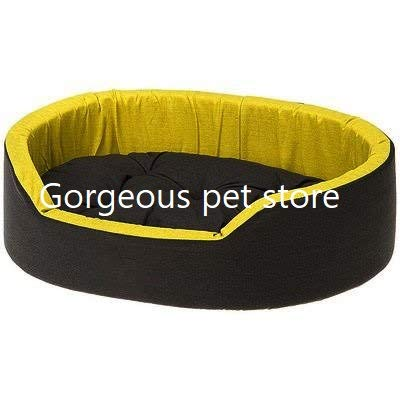Gorgeous Soft Reversible Dual Bed for Dog and Cat (Yellow-Black, Small)