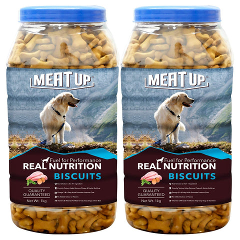 Meat Up Chicken Flavor, Real Chicken Biscuit, Dog Treats - 1kg Jar ( Buy 1 Get 1 Free)