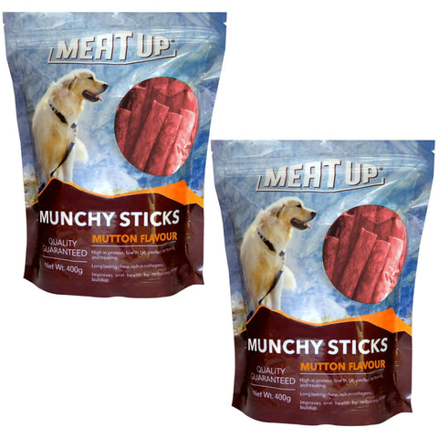 Meat Up Munchy Sticks, Mutton Flavor, Dog Treats - 400 g (Buy 1 Get 1 Free)