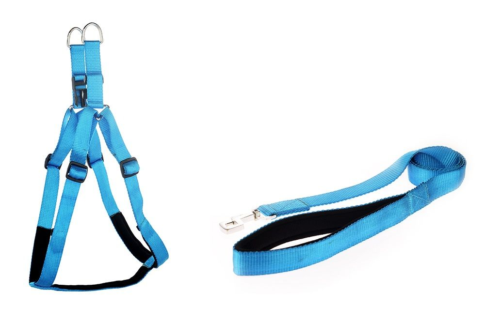 "Kennel Padded Soft Nylon Adjustable Harness & Padded Nylon Lead (W = 1"")"