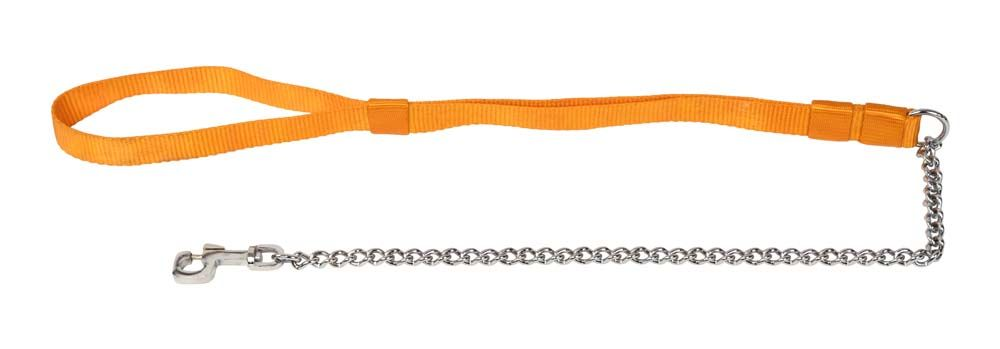 Kennel Chain Lead Medium Thick with Soft Nylon Handle