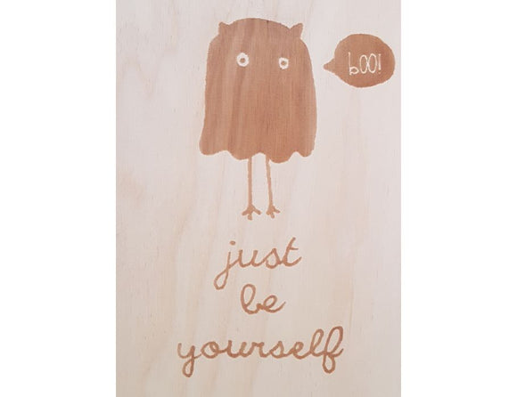 Set 5 houten briefkaarten - Be yourself - Beavers Woodland