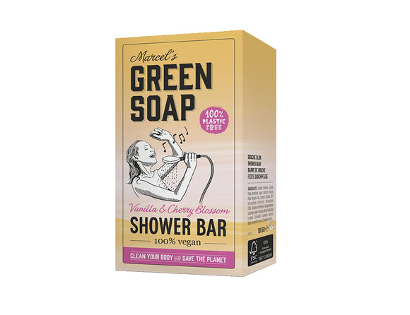 Vegan Shower Bar - Vanille & Kersenbloesem - 150g - Marcels Green Soap
