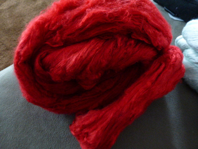 Really Red Hand Dyed Mulberry Silk Top 4 Ounces