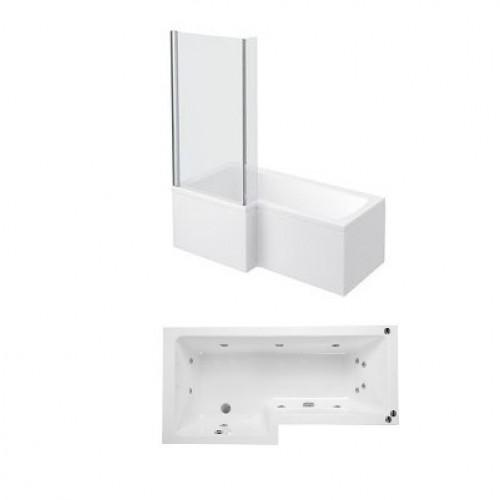 Phoenix Qube L Shaped Shower Bath With Panels and Screen Left Hand Whirlpool System 1