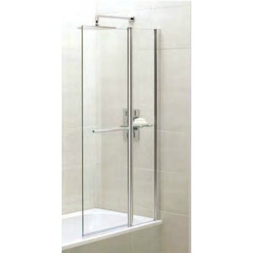 April Identiti2 fixed panel bath screen with towel rail and shelf