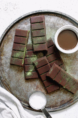PEPPERMINT MATCHA CHOCOLATE BARS wild bloom botanicals root to sky kitchen