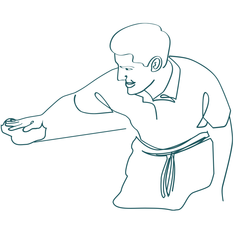 line drawing of a man with apron slightly bending over wiping a surface clean with towel
