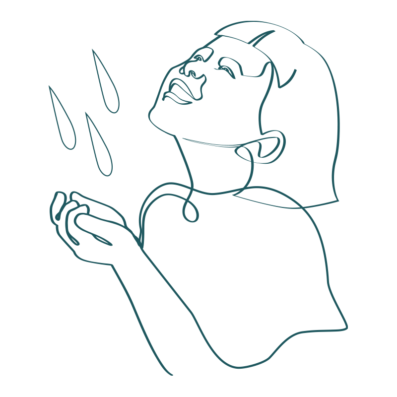 line drawing of a young girl smiling while cupping hands together under a stream of water