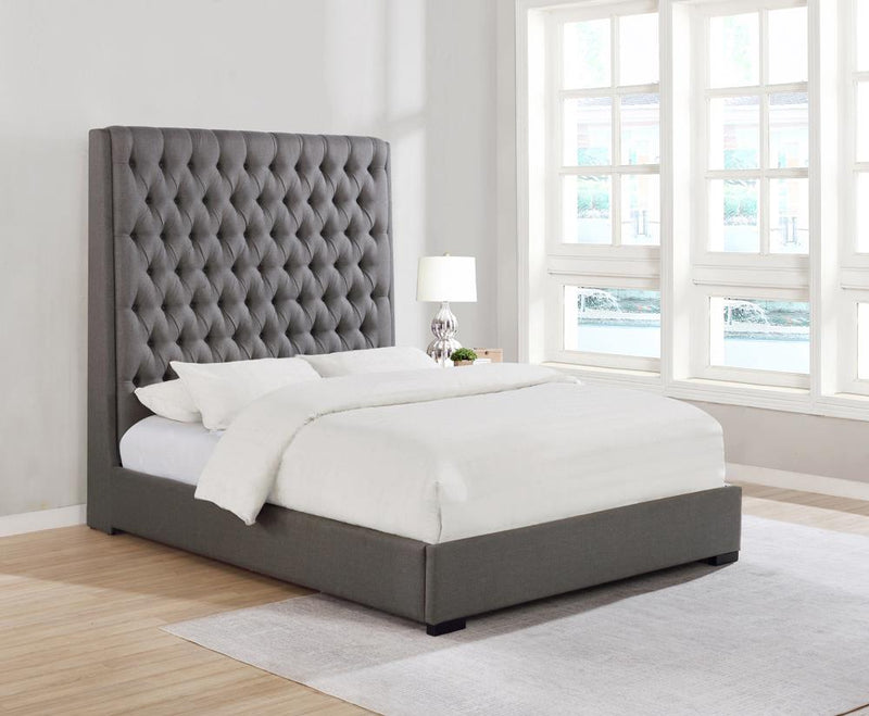 Camille Grey Upholstered California King Bed image