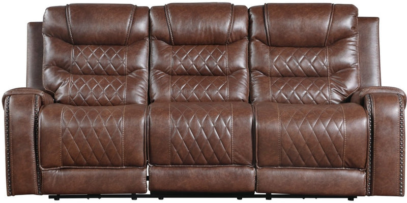 Homelegance Furniture Putnam Double Reclining Sofa with Drop-Down in Brown 9405BR-3 image