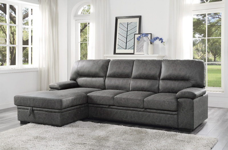 Homelegance Furniture Michigan Sectional with Pull Out Bed and Left Chaise in Dark Gray 9407DG*2LC3R image