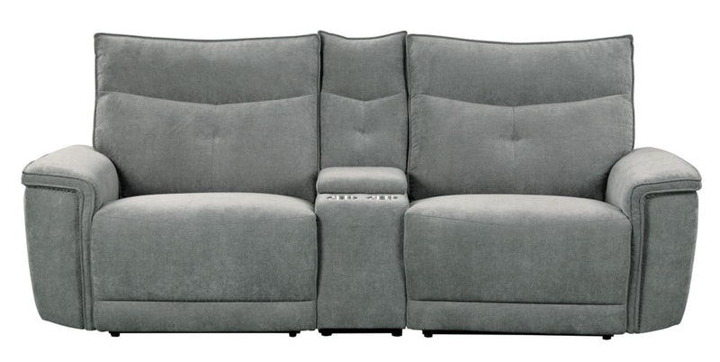 Homelegance Furniture Tesoro Power Double Reclining Loveseat in Dark Gray 9509DG-2CNPWH* image