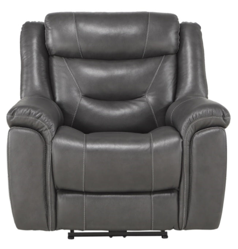 Homelegance Furniture Danio Power Double Reclining Chair with Power Headrests in Dark Gray 9528DGY-1PWH image
