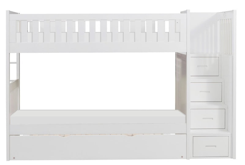 Homelegance Galen Bunk Bed w/ Reversible Step Storage and Twin Trundle in White B2053SBW-1*R image