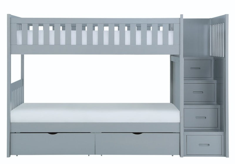 Homelegance Orion Bunk Bed w/ Reversible Step Storage and Storage Boxes in Gray B2063SB-1*T image