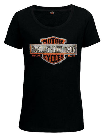 Ladies Harley-Davidson® Orange/Black B&S Dealer T-Shirt